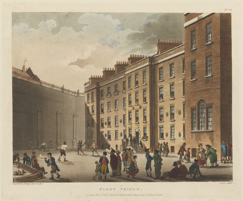 'Fleet Prison', by Thomas Rowlandson, and by  Auguste Charles Pugin, aquatinted by  Joseph Constantine Stadler, published by  Rudolph Ackermann, published 1 September 1808 - NPG D15285 - © National Portrait Gallery, London
