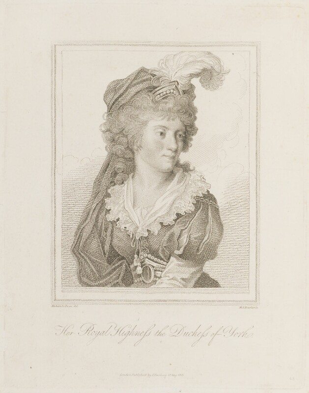 Frederica Charlotte Ulrica Catherina, Duchess of York and Albany, by Marie Anne Bourlier, published by  Edward Harding, after  Elisabeth-Louise Vigée-Le Brun, published 19 May 1806 - NPG D15300 - © National Portrait Gallery, London