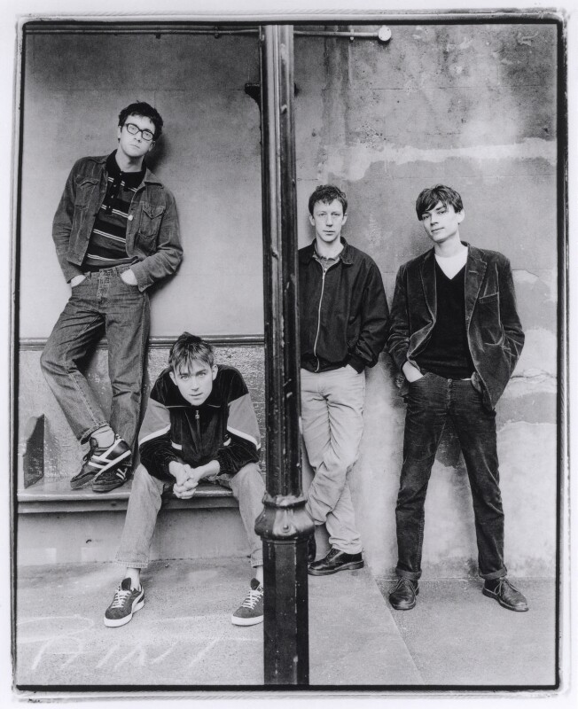 Blur (Dave Rowntree; Damon Albarn; Graham Coxon; Alex James), by Harry Borden, 10 March 1994 - NPG x87202 - © Harry Borden