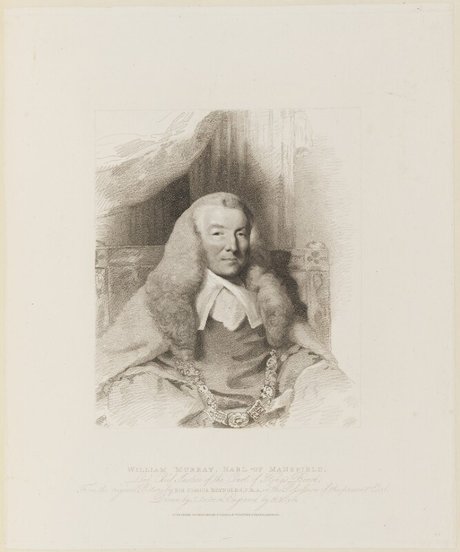 William Murray, 1st Earl of Mansfield, by Henry Meyer, published by  T. Cadell & W. Davies, after  John Jackson, after  Sir Joshua Reynolds, published 27 June 1812 (1785) - NPG D15339 - © National Portrait Gallery, London