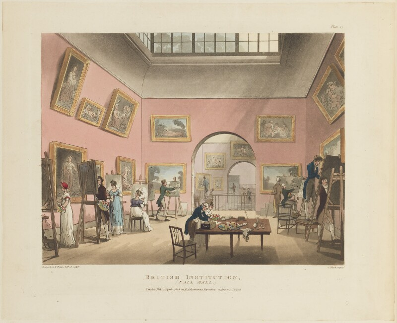 'British Institution (Pall Mall)', by Thomas Rowlandson, and by  Auguste Charles Pugin, aquatinted by  John Bluck, published by  Rudolph Ackermann, published 1 April 1808 - NPG D15343 - © National Portrait Gallery, London