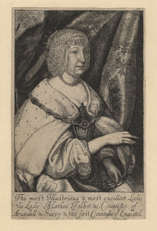 Aletheia Talbot, Countess of Arundel, by Richard Gaywood, after  Sir Anthony van Dyck, published 1655 - NPG D18370 - © National Portrait Gallery, London