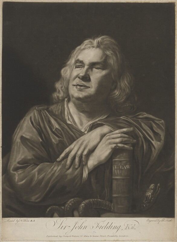 Sir John Fielding, by John Raphael Smith, published by  Carey & Watson, after  Nathaniel Hone, published 1773 - NPG D18430 - © National Portrait Gallery, London
