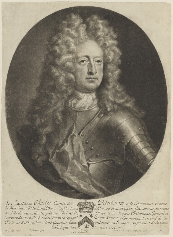 Charles Mordaunt, 3rd Earl of Peterborough, by John Simon, published by  Edward Cooper, after  Michael Dahl, circa 1685-1693 - NPG D15445 - © National Portrait Gallery, London
