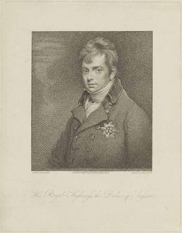 Prince Augustus Frederick, Duke of Sussex, by Marie Anne Bourlier, published by  Edward Harding, after  Sir William Beechey, published 19 May 1806 - NPG D15466 - © National Portrait Gallery, London