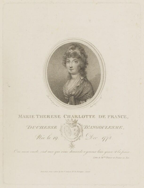 Marie Thérèse Charlotte, duchesse d'Angoulême, by Anthony Cardon, published by and after  Augustin de Saint-Aubin, published 1 June 1800 - NPG D15520 - © National Portrait Gallery, London