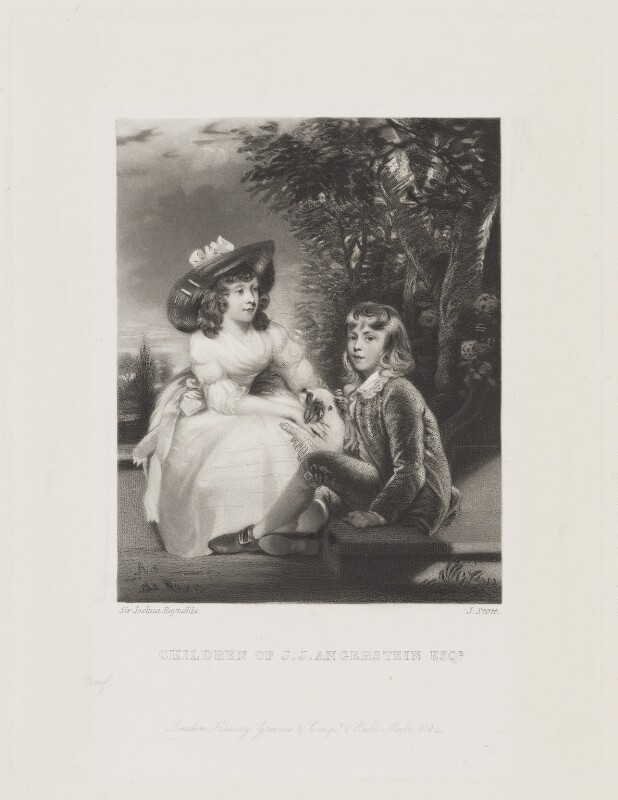 John Angerstein; Juliana Angerstein (when children), by James Scott, published by  Henry Graves, after  Sir Joshua Reynolds, published 1864 (1783) - NPG D15571 - © National Portrait Gallery, London