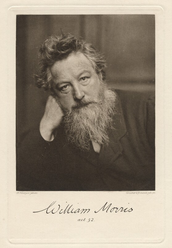William Morris, by Frederick Hollyer, printed and published by  Walker & Boutall, 1884 - NPG x3759 - © National Portrait Gallery, London