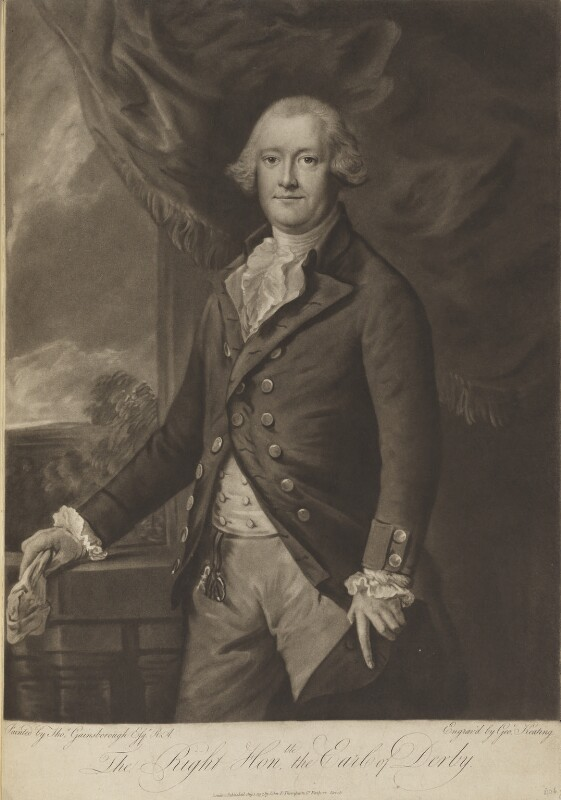 Edward Smith Stanley, 12th Earl of Derby, by George Keating, published by  John Peter Thompson, after  Thomas Gainsborough, published 1 August 1797 - NPG D15617 - © National Portrait Gallery, London