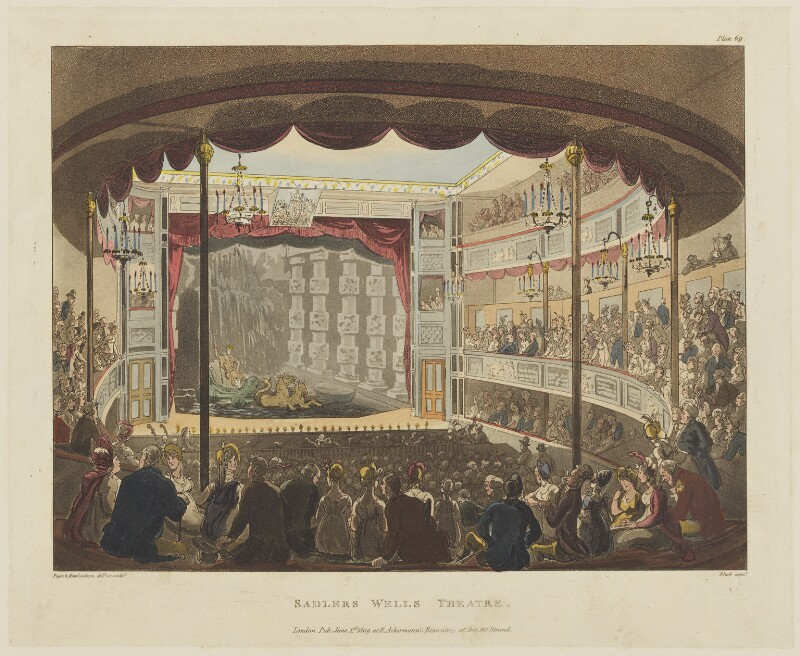 'Sadlers Wells Theatre', by Thomas Rowlandson, and by  Auguste Charles Pugin, aquatinted by  John Bluck, published by  Rudolph Ackermann, published 1 June 1809 - NPG D15620 - © National Portrait Gallery, London