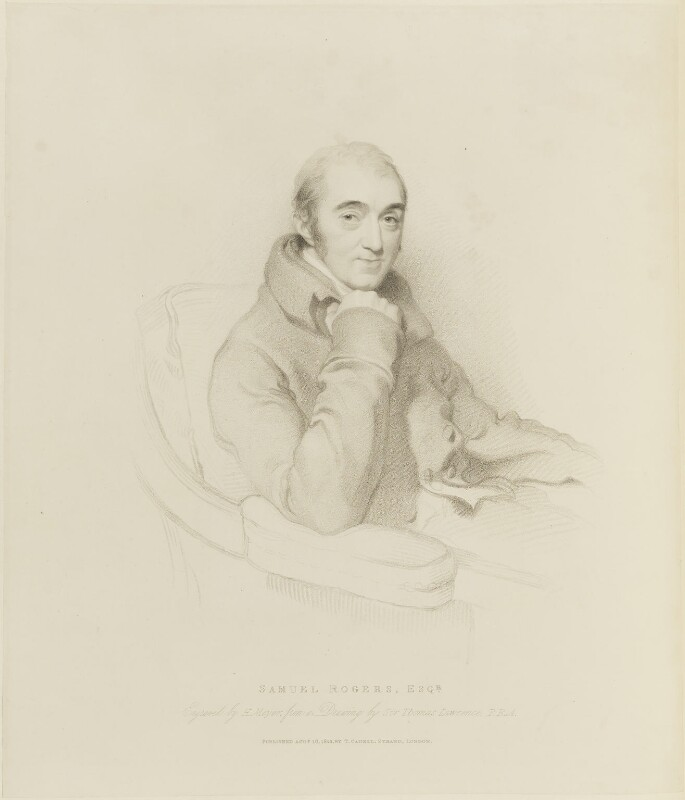 Samuel Rogers, by Henry Meyer, published by  Thomas Cadell the Elder, after  Sir Thomas Lawrence, published 16 August 1822 (1769-1830) - NPG D15653 - © National Portrait Gallery, London