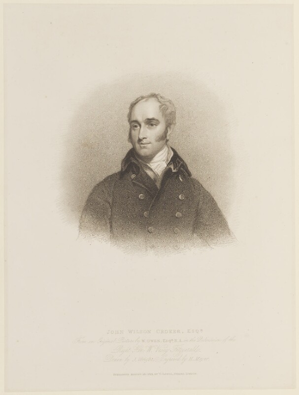 John Wilson Croker, by Henry Meyer, published by  Thomas Cadell the Elder, after  John Wright, after  William Owen, published 16 August 1822 - NPG D15733 - © National Portrait Gallery, London