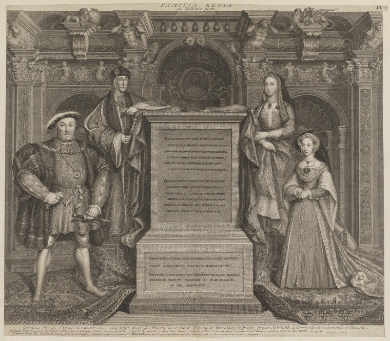 King Henry VIII; King Henry VII; Elizabeth of York; Jane Seymour, by George Vertue, after  Remigius van Leemput, after  Hans Holbein the Younger, 1737 - NPG D18545 - © National Portrait Gallery, London