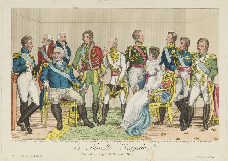 'La famille royale et les alliées s'occupant du bonheur de l'Europe', published by Décrouant, early 19th century - NPG D15837 - © National Portrait Gallery, London