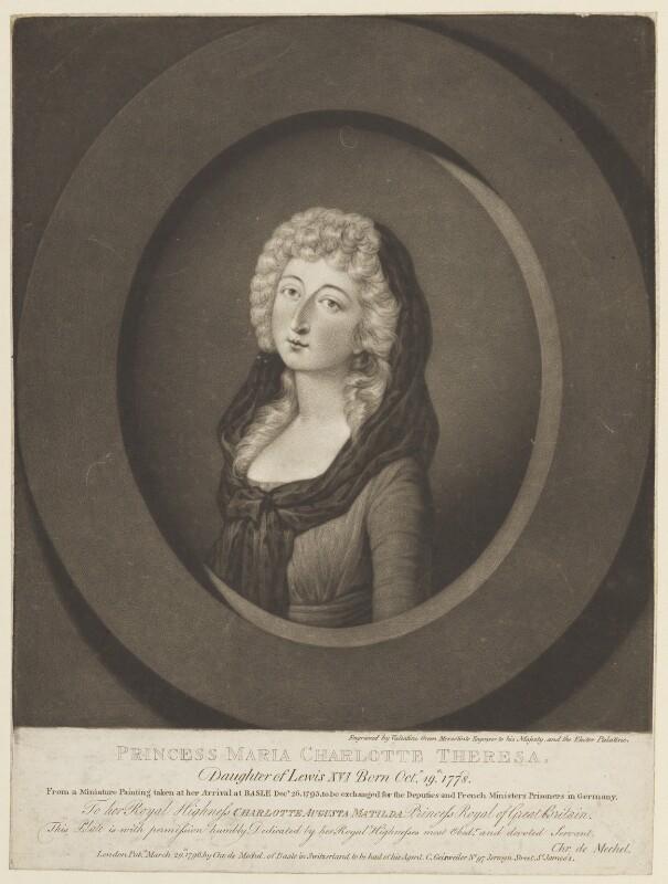 Marie Thérèse Charlotte, duchesse d'Angoulême, by Valentine Green, published by  Christian von Mechel, published 29 March 1796 - NPG D15839 - © National Portrait Gallery, London