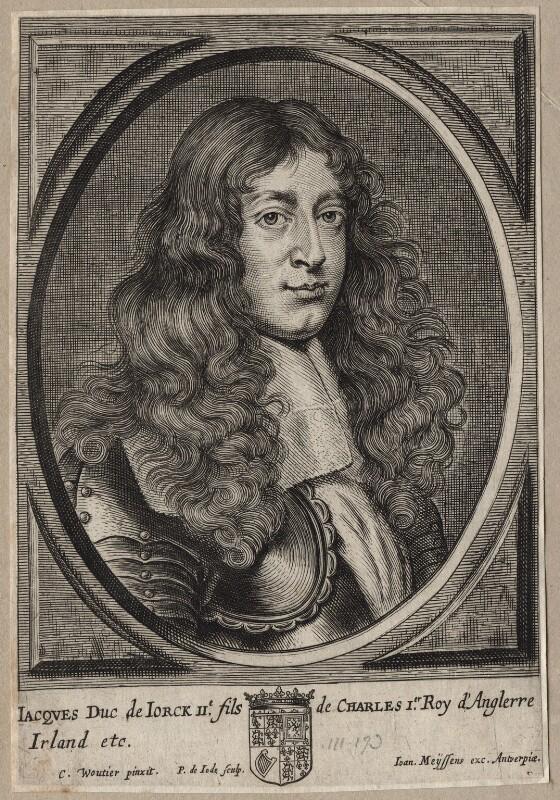 King James II, by Pieter de Jode II, after  Charles Wautier (Wautiers, Woutiers), 1650s? - NPG D18568 - © National Portrait Gallery, London