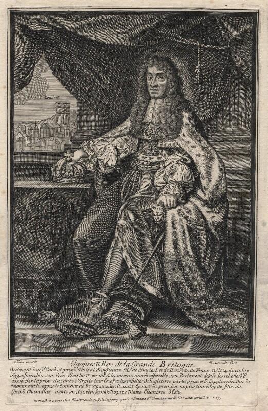 King James II, by Nicolas Arnoult, after  Antoine Dieu, 1685-1688 - NPG D18575 - © National Portrait Gallery, London