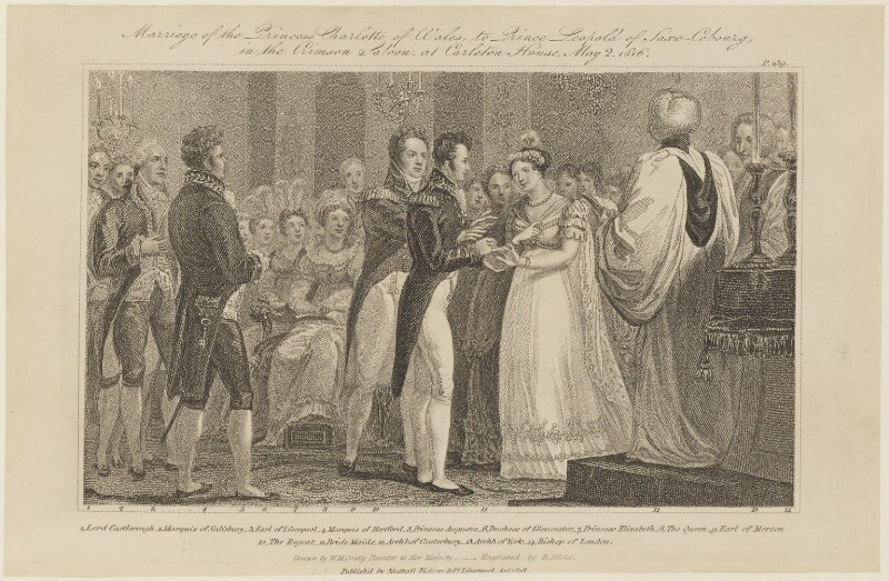 'Marriage of the Princess Charlotte of Wales to Prince Leopold of Saxe-Cobourg', by Robert Hicks, published by  Nuttall, Fisher & Dixon, after  William Marshall Craig, published April 1818 - NPG D16053 - © National Portrait Gallery, London