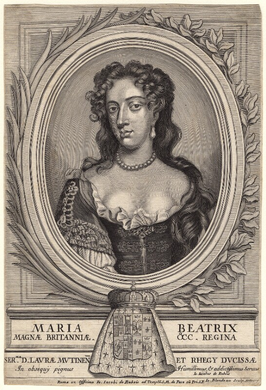 Mary of Modena, by Jacques Blondeau, after  Willem Wissing, (circa 1685) - NPG D18596 - © National Portrait Gallery, London