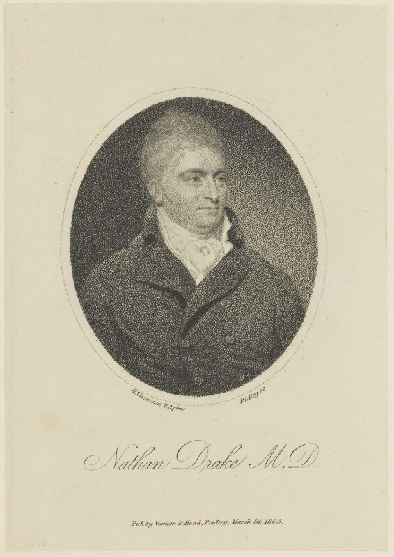 Nathan Drake, by William Ridley, published by  Vernor & Hood, after  Henry Thomson, published 30 March 1805 - NPG D16067 - © National Portrait Gallery, London