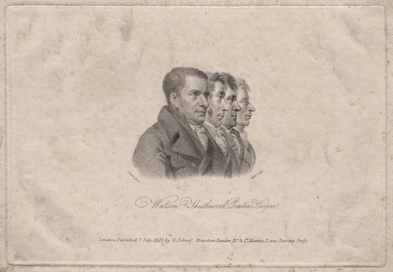 James Watson; Arthur Thistlewood; Thomas Preston; John Hooper, by William Holl Sr, published by and after  George Scharf, published 7 July 1817 - NPG D18602 - © National Portrait Gallery, London