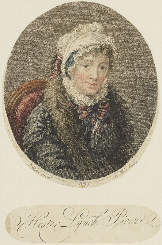 Hester Lynch Piozzi (née Salusbury, later Mrs Thrale), by Marino or Mariano Bovi (Bova), published by  John Stockdale, after  Pierre Noel Violet, published 1800 - NPG D16112 - © National Portrait Gallery, London