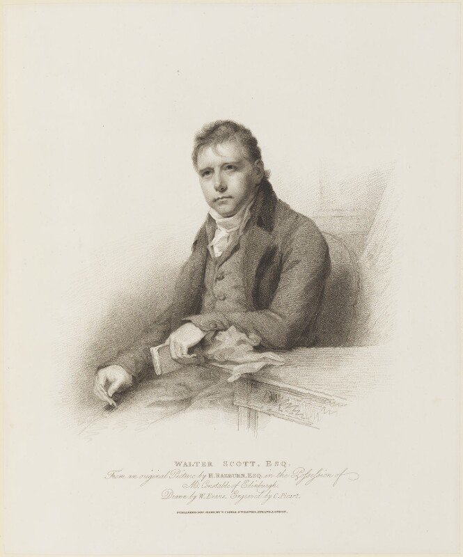 Sir Walter Scott, 1st Bt, by Charles Picart, published by  T. Cadell & W. Davies, after  William Evans, after  Sir Henry Raeburn, published 21 December 1811 - NPG D16117 - © National Portrait Gallery, London