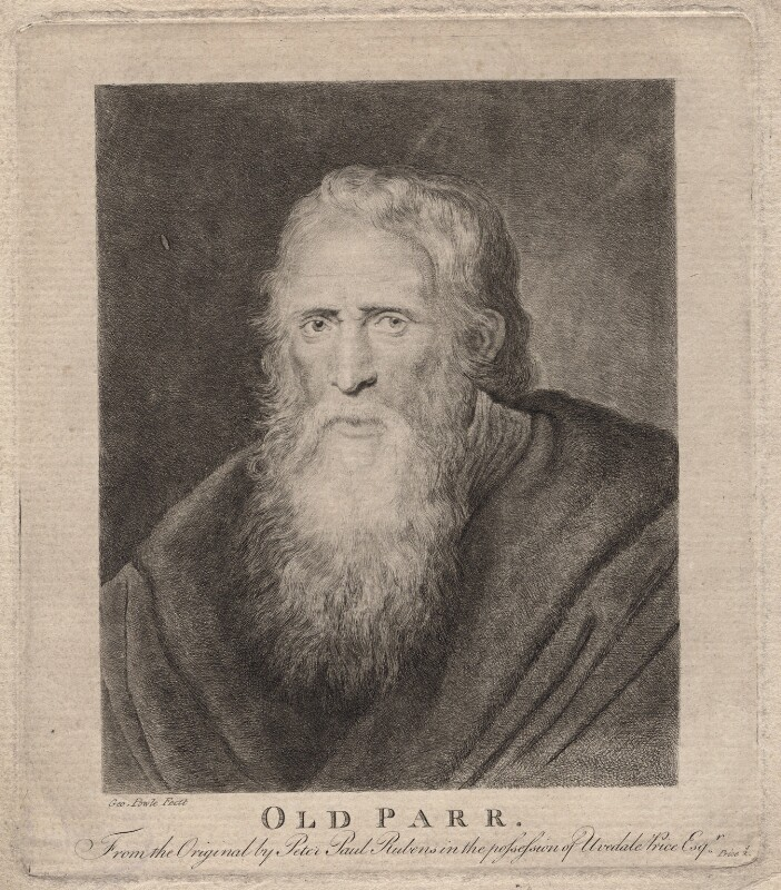 Thomas Parr, by George Powle, after  Sir Peter Paul Rubens, 18th century - NPG D18613 - © National Portrait Gallery, London
