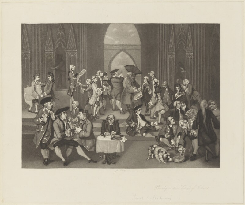 'Parody on the School of Athens', by James Scott, after  Sir Joshua Reynolds, (1751) - NPG D16142 - © National Portrait Gallery, London