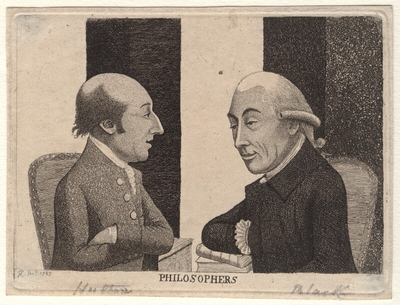 'Philosophers' (James Hutton; Joseph Black), by John Kay, 1787 - NPG D18646 - © National Portrait Gallery, London