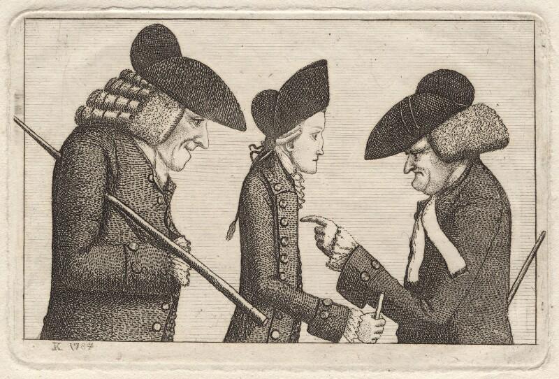 Henry Home, Lord Kames; Hugo Arnot; James Burnett, Lord Monboddo, by John Kay, 1784 - NPG D18640 - © National Portrait Gallery, London
