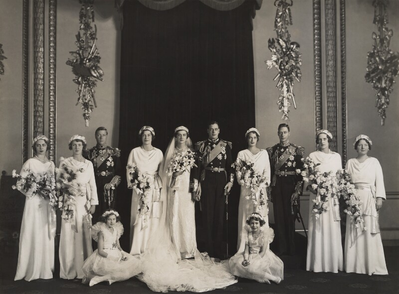 The wedding of Prince George, Duke of Kent and Princess Marina, Duchess of Kent, by Bassano Ltd, 29 November 1934 - NPG x126333 - © National Portrait Gallery, London