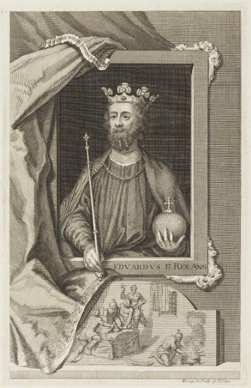 King Edward II, by George Vertue, engraved 1735 - NPG D18690 - © National Portrait Gallery, London