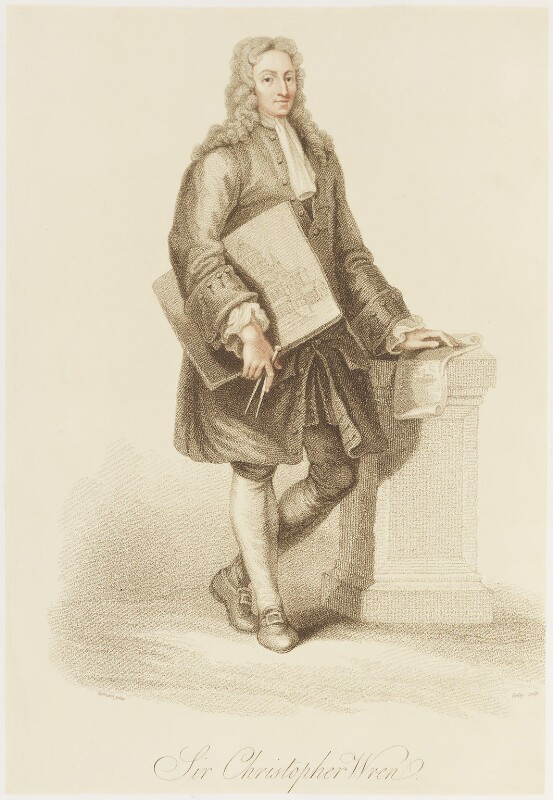 Sir Christopher Wren, by James Godby, published by  Edward Orme, after  Giovanni Battista Cipriani, published 1815 - NPG D18695 - © National Portrait Gallery, London