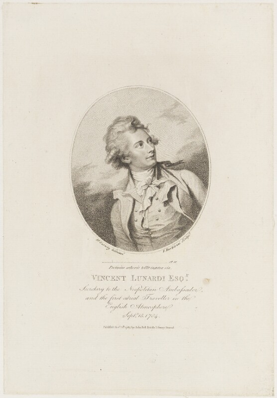 Vincenzo Lunardi, by Francesco Bartolozzi, published by  John Bell, after  Richard Cosway, published 5 October 1784 - NPG D18705 - © National Portrait Gallery, London