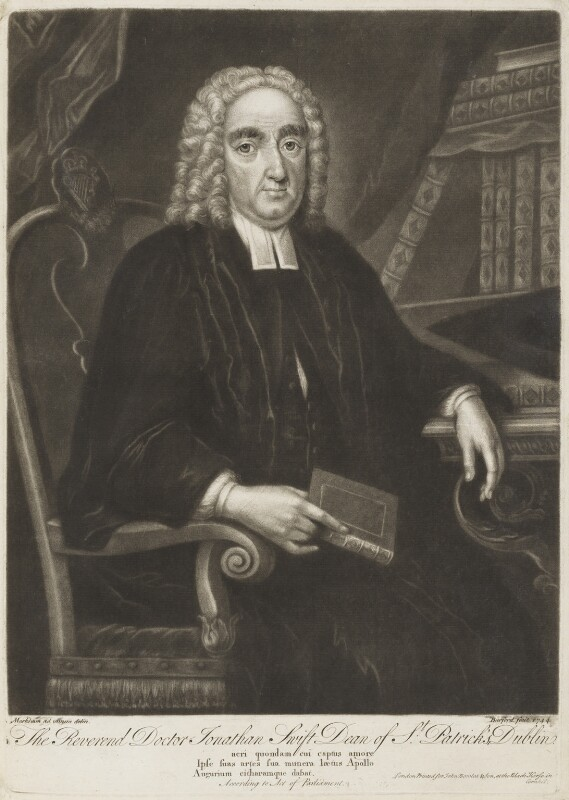 Jonathan Swift, by Thomas Burford, published by  John Bowles, after  Markham, 1744 - NPG D18728 - © National Portrait Gallery, London