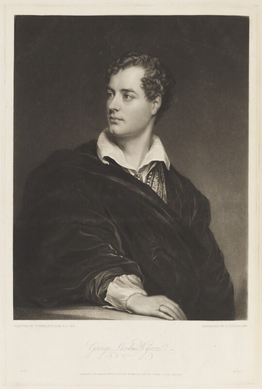 Lord Byron, by Thomas Goff Lupton, published by  William Bernard Cooke, after  Thomas Phillips, published 20 November 1824 (1814) - NPG D18731 - © National Portrait Gallery, London