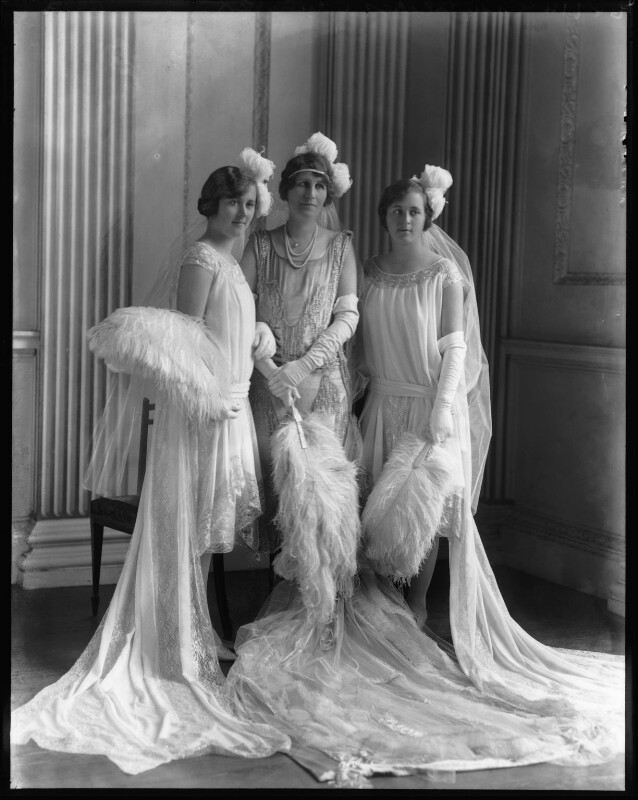 Hon. Margaret Agnes Wyatt; Margaret Emma, Lady Ebbisham; Lady (Helen) Elizabeth Russell, by Bassano Ltd, 19 May 1927 - NPG x124037 - © National Portrait Gallery, London