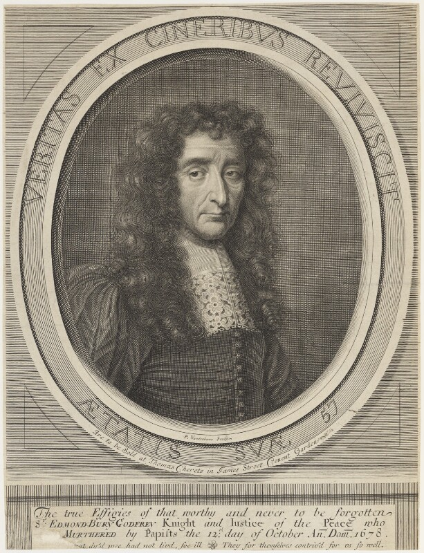 Sir Edmund Berry Godfrey, by Peter Vanderbank (Vandrebanc), published by  Thomas Cheret, after  Unknown artist, 1675-1697 - NPG D18811 - © National Portrait Gallery, London