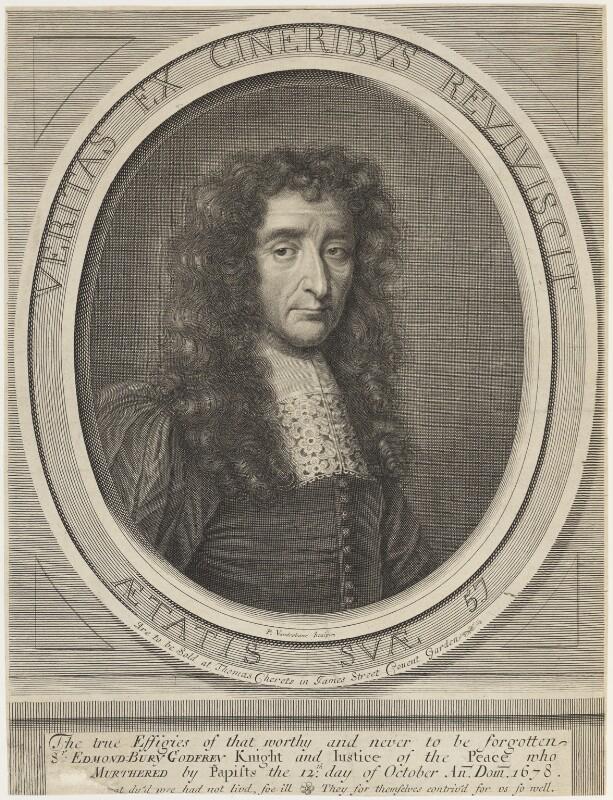 Sir Edmund Berry Godfrey, by Peter Vanderbank (Vandrebanc), published by  Thomas Cheret, after  Unknown artist, 1675-1697 - NPG D18811 - © National Portrait Gallery, London