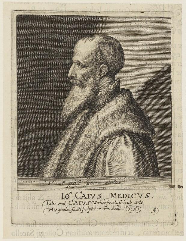 John Caius, by Magdalena de Passe, by  Willem de Passe, published 1620 - NPG D18812 - © National Portrait Gallery, London