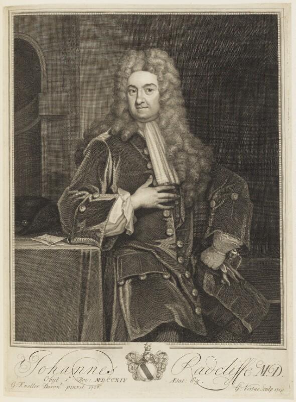 John Radcliffe, by George Vertue, after  Sir Godfrey Kneller, Bt, 1719 (1710) - NPG D18822 - © National Portrait Gallery, London