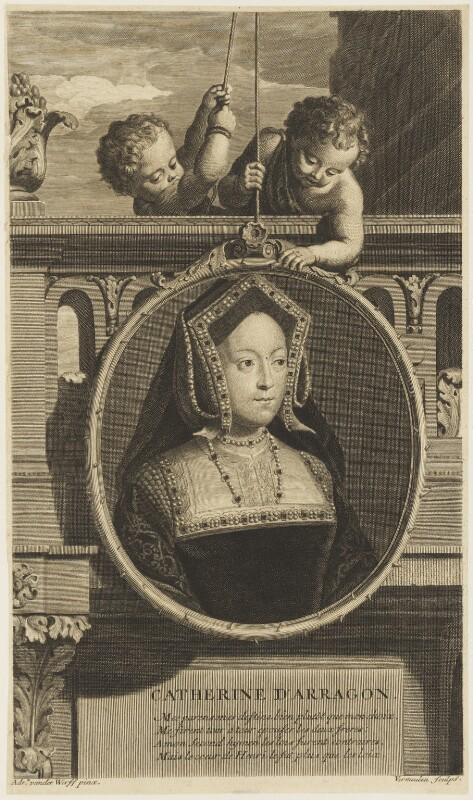Katherine of Aragon, by Cornelis Martinus Vermeulen, after  Adriaen van der Werff, published 1697 - NPG D18834 - © National Portrait Gallery, London