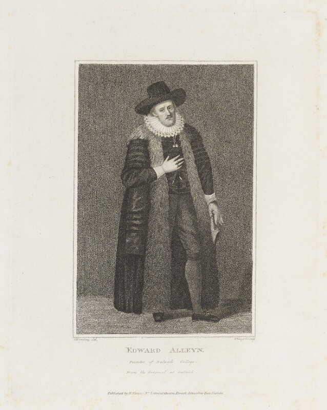 Edward Alleyn, by Thomas Nugent, published by  Edward Evans, after  Silvester Harding, after  Unknown artist, published March 1792 (1626) - NPG D18839 - © National Portrait Gallery, London