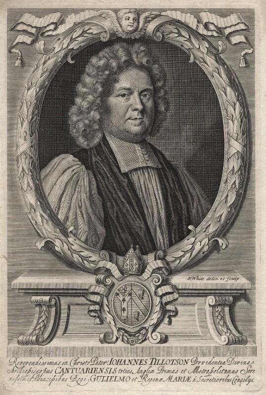 John Tillotson, by Peter Vanderbank (Vandrebanc), by  Robert White, after  Mary Beale, circa 1692 - NPG D16230 - © National Portrait Gallery, London