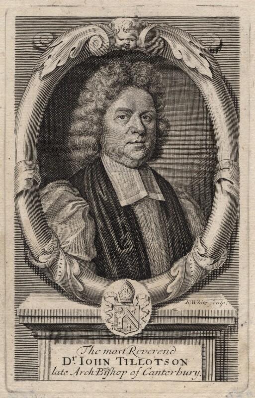 John Tillotson, by Robert White, after  Mary Beale, 1694-1703 - NPG D16227 - © National Portrait Gallery, London