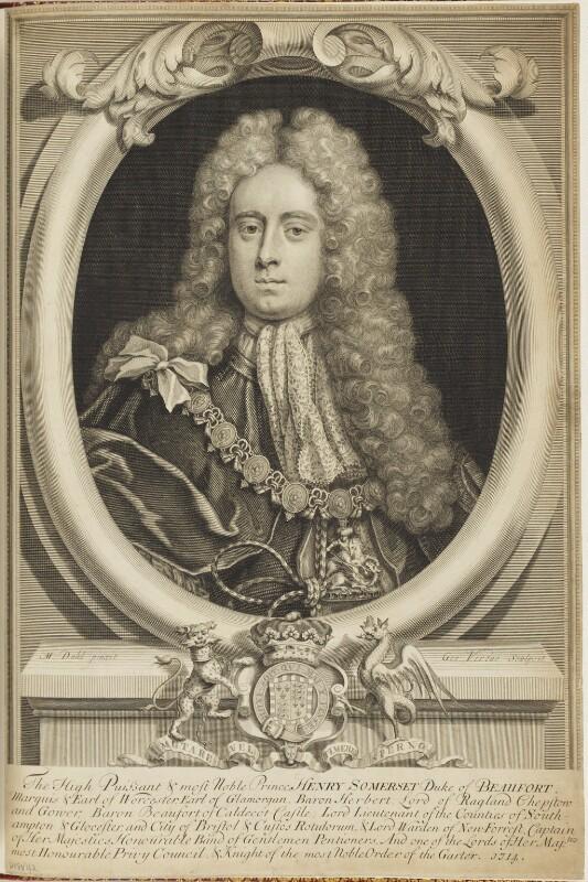 Henry Somerset, 2nd Duke of Beaufort, by George Vertue, after  Michael Dahl, 1714 - NPG D18842 - © National Portrait Gallery, London