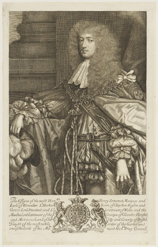 Henry Somerset, 1st Duke of Beaufort, by Robert White, after  Sir Godfrey Kneller, Bt, circa 1679 - NPG D18843 - © National Portrait Gallery, London