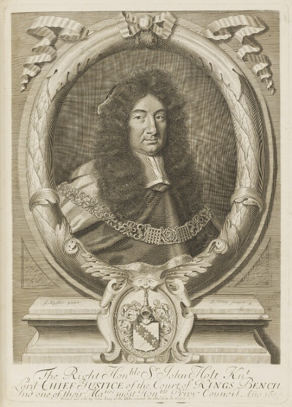 Sir John Holt, by Robert White, printed and sold by  John King, after  Sir Godfrey Kneller, Bt, 1680 - NPG D18848 - © National Portrait Gallery, London