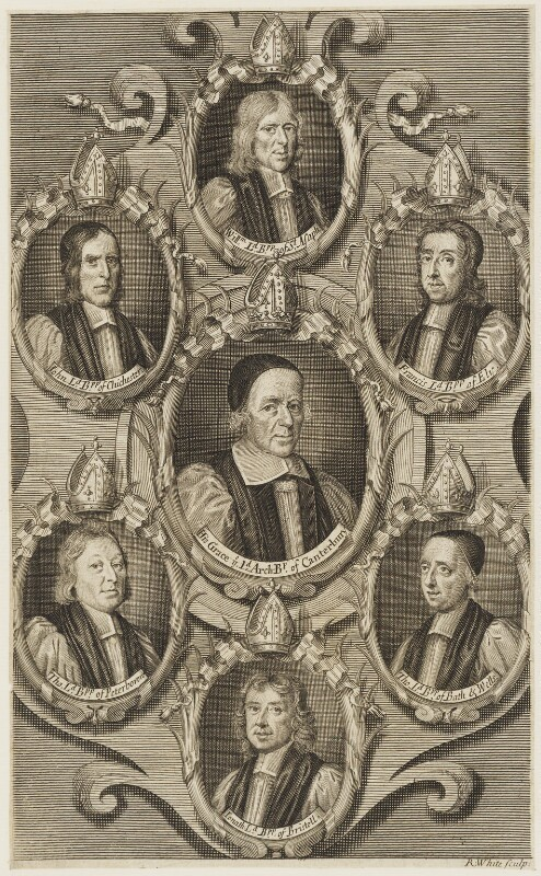 The Seven Bishops committed to the Tower in 1688, by Robert White, published by  Thomas Basset, published by  Thomas Fox, published 1689 - NPG D18862 - © National Portrait Gallery, London
